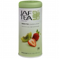 Чай зеленый лист. JAF TEA Strawberry & Kiwi SC 100г в ж/б