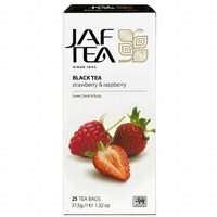 Чай черный пакет. JAF TEA Strawberry & Raspberry PC 25*1,5г