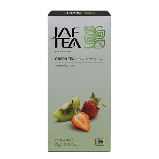 Чай зеленый пакет. JAF TEA Strawberry & Kiwi SC 25*2г